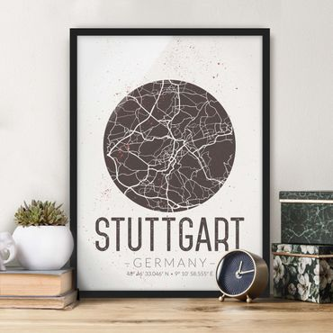 Bild mit Rahmen - Stadtplan Stuttgart - Retro - Hochformat 3:4