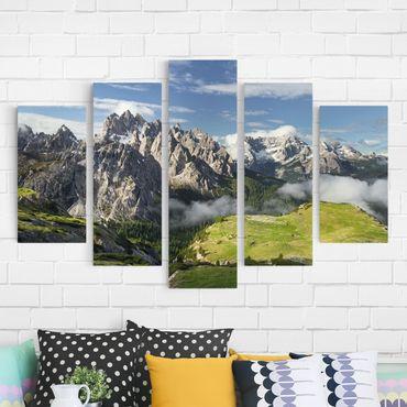 Leinwandbild 5-teilig - Italienische Alpen