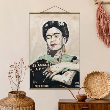 Stoffbild mit Posterleisten - Frida Kahlo - Collage No.4 - Hochformat 2:3