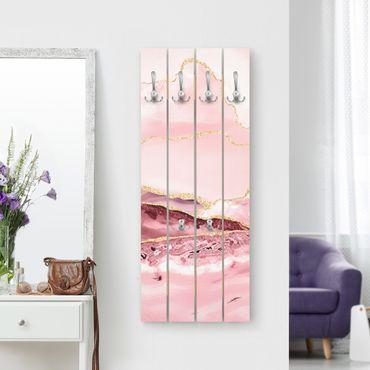 Wandgarderobe Holz - Abstrakte Berge Rosa mit Goldene Linien - Haken chrom Hochformat