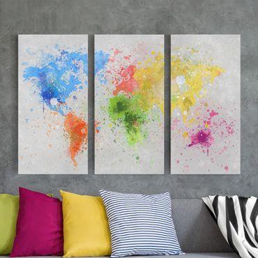 Leinwandbild 3-teilig - Bunte Farbspritzer Weltkarte - Hoch 1:2