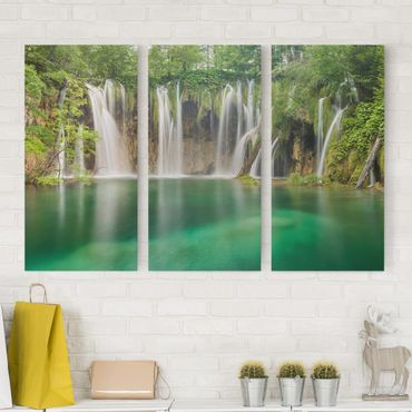 Leinwandbild 3-teilig - Wasserfall Plitvicer Seen - Hoch 1:2