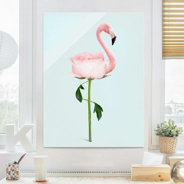 Glasbild - Jonas Loose - Flamingo mit Rose - Hochformat 4:3