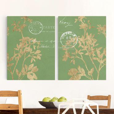Leinwandbild 2-teilig - Goldene Blätter auf Lind Set I - Hoch 4:3