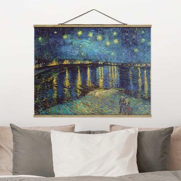 Stoffbild mit Posterleisten - Vincent van Gogh - Sternennacht über der Rhône - Querformat 3:4