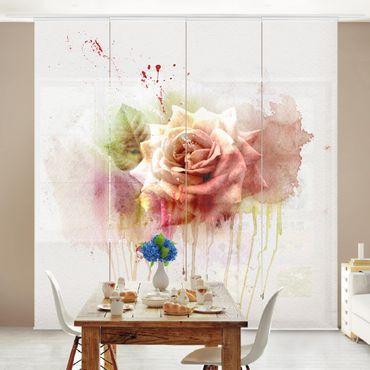 Schiebegardinen Set - Aquarell Rose - Flächenvorhänge