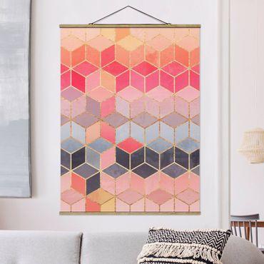 Stoffbild mit Posterleisten - Elisabeth Fredriksson - Buntes Pastell goldene Geometrie - Hochformat 4:3