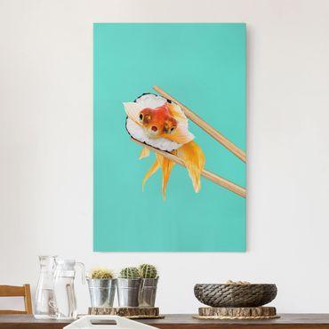 Leinwandbild - Jonas Loose - Sushi mit Goldfisch - Hochformat 3:2