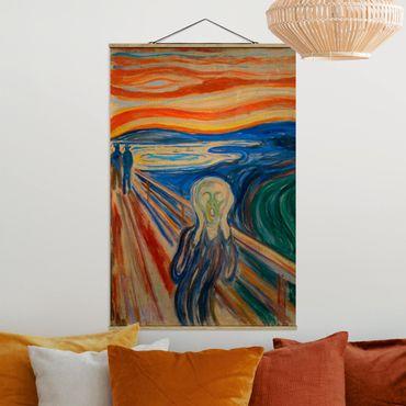 Stoffbild mit Posterleisten - Edvard Munch - Der Schrei - Hochformat 3:2