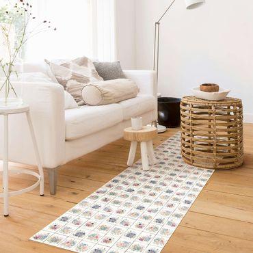 Vinyl-Teppich - Aquarell Blumen Landhaus - Panorama Hoch 1:3