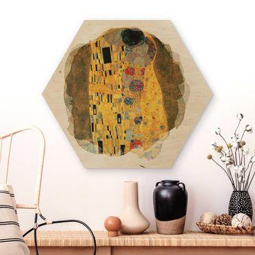 Hexagon Bild Holz - Wasserfarben - Gustav Klimt - Der Kuss