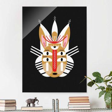 Glasbild - Collage Ethno Maske - Hase - Hochformat 4:3