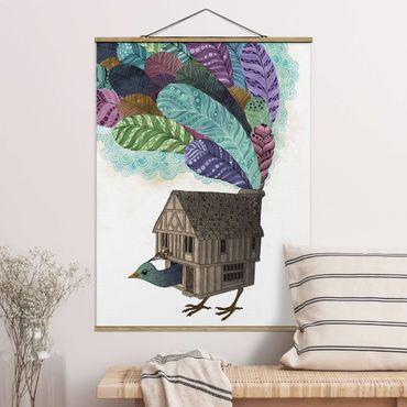 Stoffbild mit Posterleisten - Laura Graves - Illustration Vogel Haus mit Federn - Hochformat 4:3
