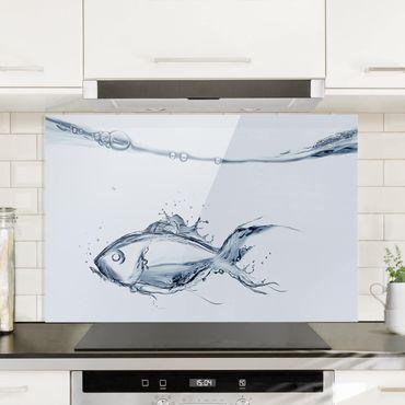 Spritzschutz Glas - Liquid Silver Fish - Querformat - 3:2