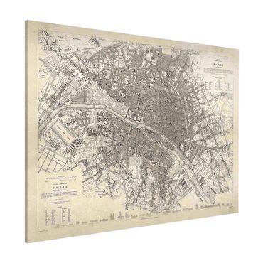 Magnettafel - Vintage Stadtplan Paris - Memoboard Querformat 3:4