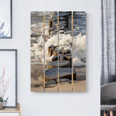Holzbild - Wellenbrecher am Strand - Hochformat 3:2