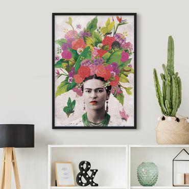 Bild mit Rahmen - Frida Kahlo - Blumenportrait - Hochformat 3:4