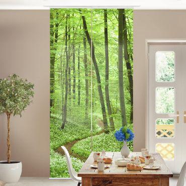 Schiebegardinen Set - Romantischer Waldweg - Flächenvorhänge