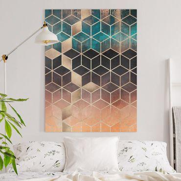 Leinwandbild - Türkis Rosé goldene Geometrie - Hochformat 4:3