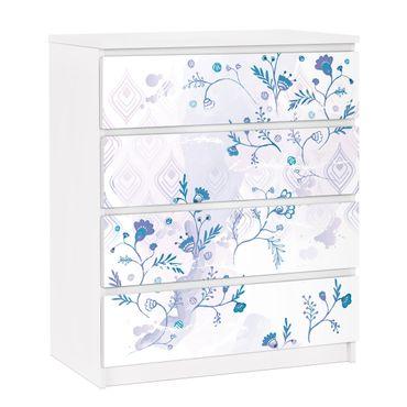 Möbelfolie für IKEA Malm Kommode - selbstklebende Folie Blaues Fantasiemuster