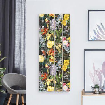 Wandgarderobe Holz - Blumen mit Tropischen Vögeln Bunt - Haken chrom Hochformat