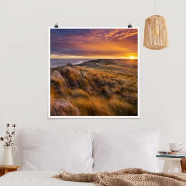 Poster - Sonnenaufgang am Strand auf Sylt - Quadrat 1:1