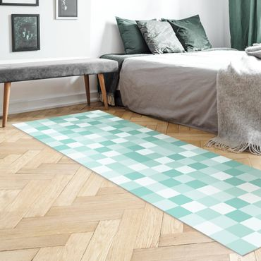 Vinyl-Teppich - Geometrisches Muster Mosaik Mintgrün - Panorama Hoch 1:3