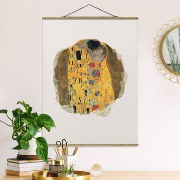 Stoffbild mit Posterleisten - Wasserfarben - Gustav Klimt - Der Kuss - Hochformat 3:4