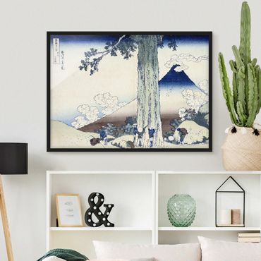 Bild mit Rahmen - Katsushika Hokusai - Mishima Pass in der Provinz Kai - Querformat 3:4