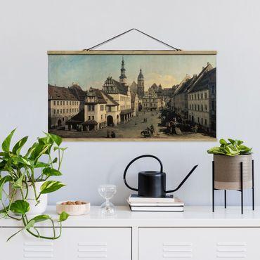 Stoffbild mit Posterleisten - Bernardo Bellotto - Der Marktplatz in Pirna - Querformat 2:1