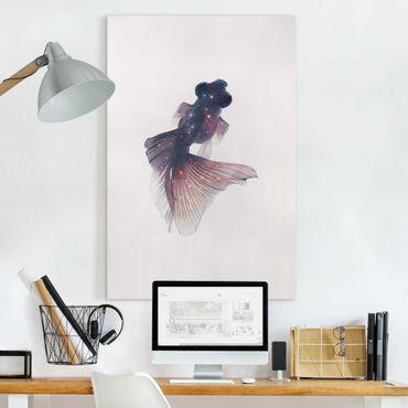 Leinwandbild - Jonas Loose - Fisch mit Galaxie - Hochformat 3:2