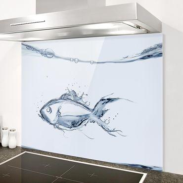 Glas Spritzschutz - Liquid Silver Fish - Querformat - 4:3