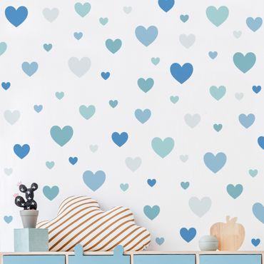 Wandtattoo mehrfarbig Kinderzimmer - 85 Herzen Blau Grau Petrol Set