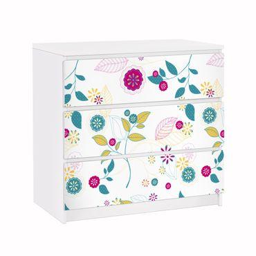 Möbelfolie für IKEA Malm Kommode - Klebefolie Blumencocktail
