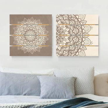 Holzbild 2-teilig - Mandala Illustration shabby Set beige weiß - Quadrate 1:1