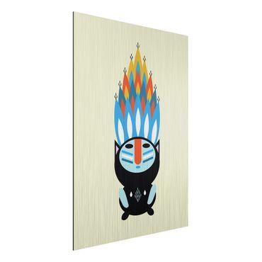 Aluminium Print gebürstet - Collage Ethno Monster - Feuer - Hochformat 4:3