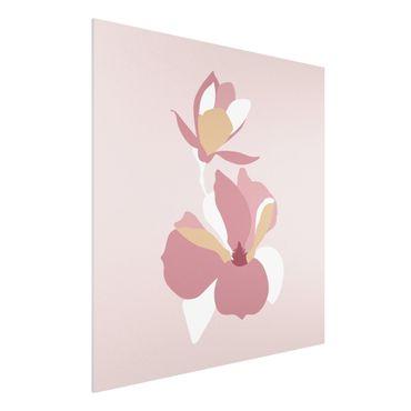 Forex Fine Art Print - Line Art Blüten Pastell Rosa - Quadrat 1:1