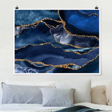 Poster - Goldene Glitzer Wellen vor Blau - Querformat 3:4