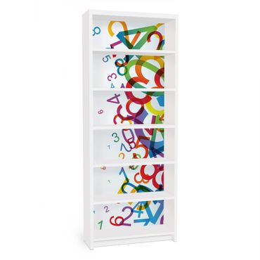 Möbelfolie für IKEA Billy Regal - Klebefolie Colourful Numbers