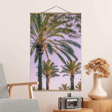 Stoffbild mit Posterleisten - Palmen im Sonnenuntergang - Hochformat 3:2
