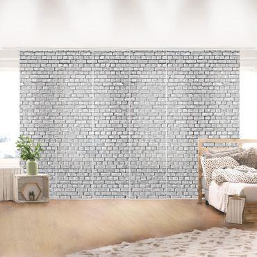 Schiebegardinen Set - Backstein Ziegelschwarz weiß - Flächenvorhänge