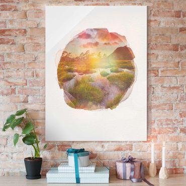 Glasbild - Wasserfarben - Tverrdalsbekken - Hochformat 4:3