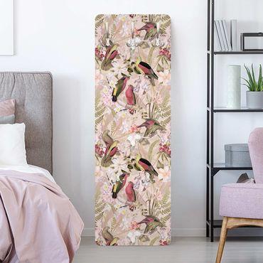 Garderobe - Rosa Pastell Vögel mit Blumen