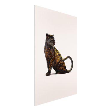Forex Fine Art Print - Jonas Loose - Goldener Panther - Hochformat 3:2