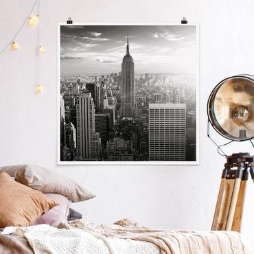 Poster - Manhattan Skyline - Quadrat 1:1