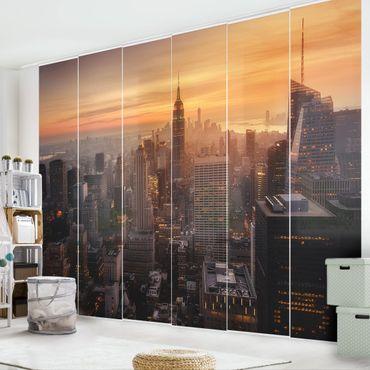 Schiebegardinen Set - Manhattan Skyline Abendstimmung - Flächenvorhang