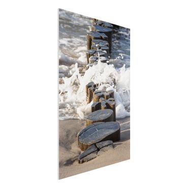 Forex Fine Art Print - Wellenbrecher am Strand - Hochformat 3:2
