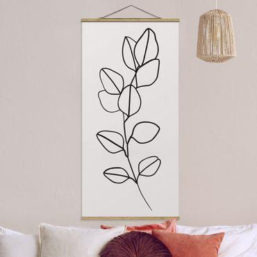 Stoffbild mit Posterleisten - Line Art Zweig Blätter Schwarz Weiß - Hochformat 1:2
