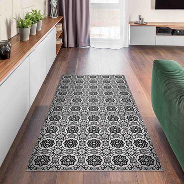 Vinyl-Teppich - Florale Fliesen schwarz-weiß - Hochformat 1:2