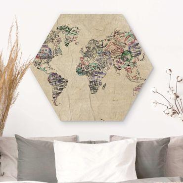 Hexagon Bild Holz - Reisepass Stempel Weltkarte